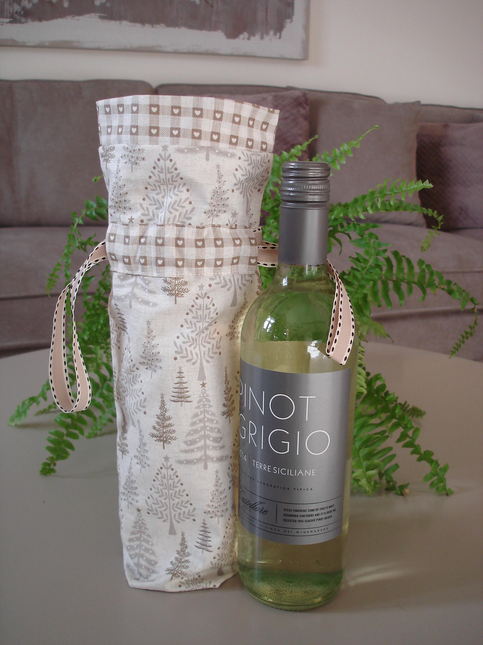 Handmade fabric wine bottle gift bags